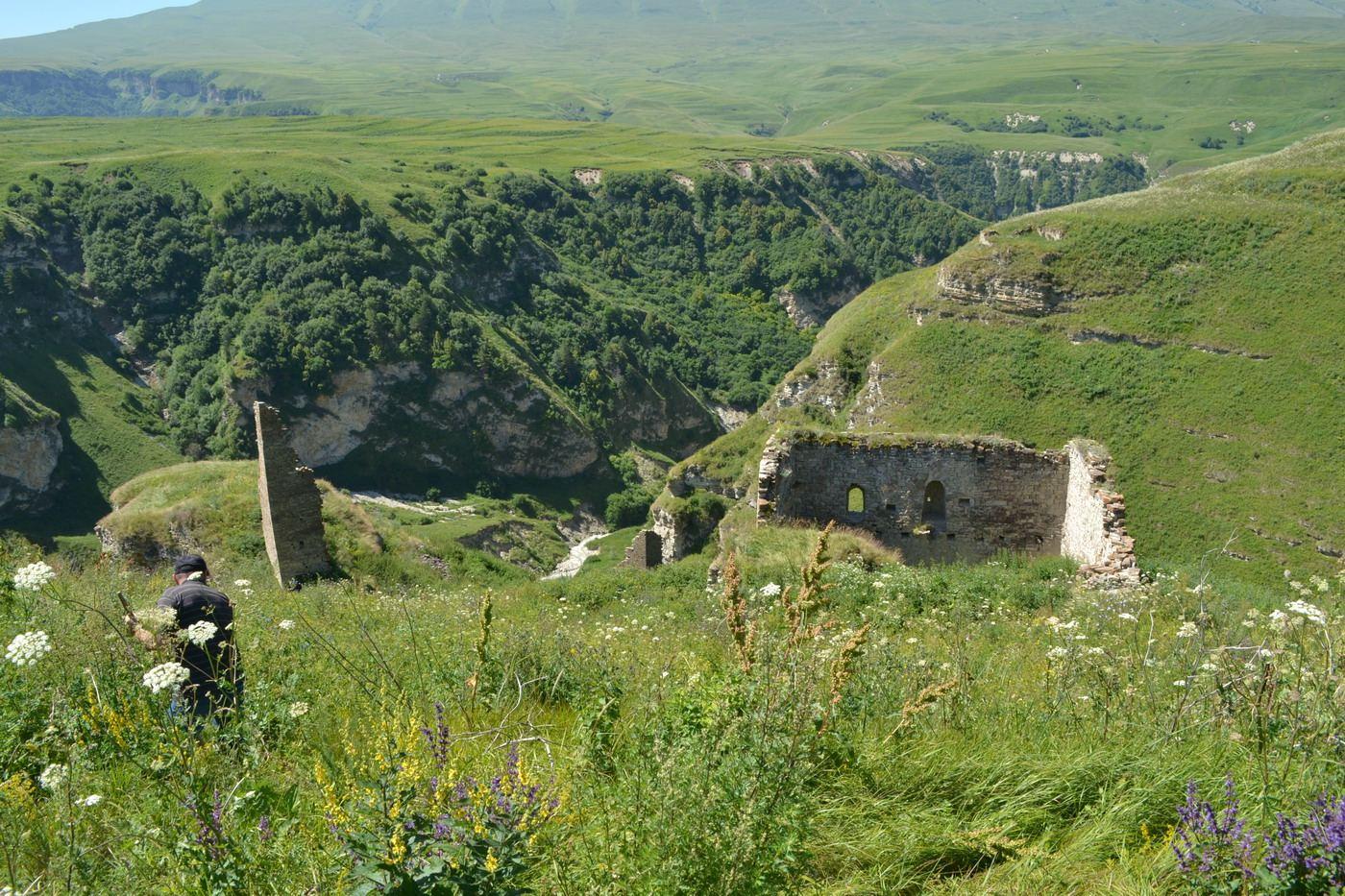 замок горцев, тропинка, руины, в чечне, горы кавказа