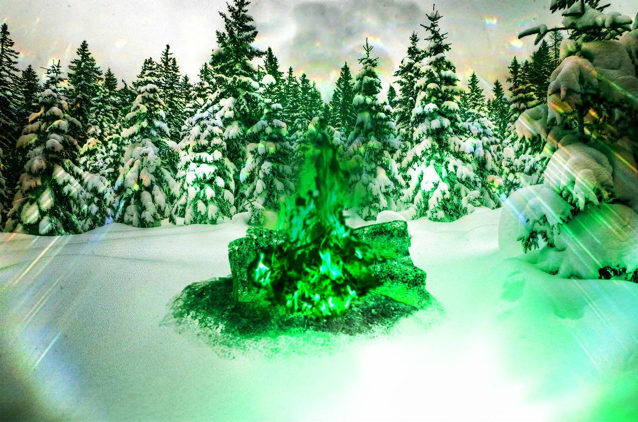 зелёный костёр в зимнем лесу. осознанный сон про другой мир и испытания для его посетителей