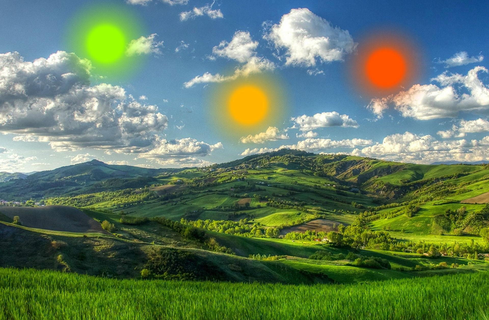 зелёные холмы в стиле фэнтези и три солнца. глаза смерти. осознанный сон с ролью творца