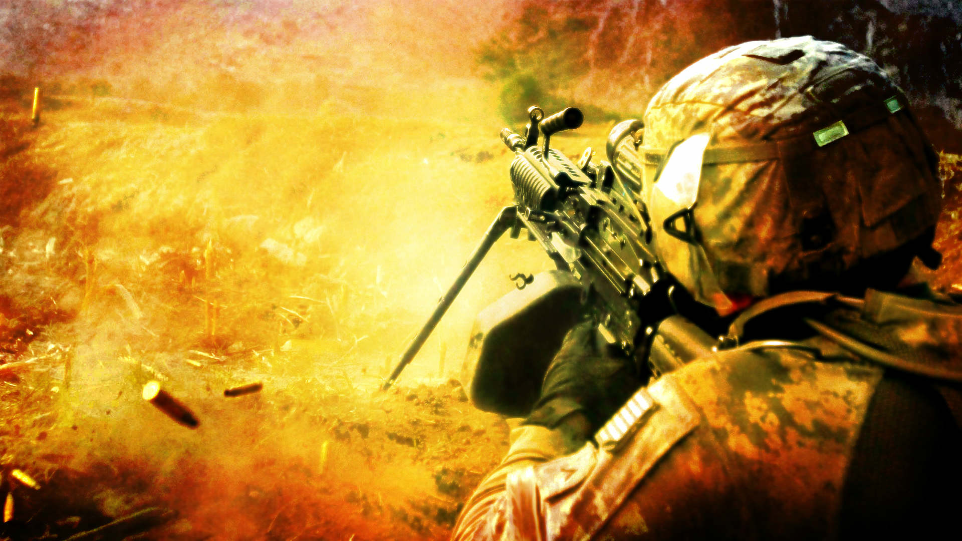 солдат стреляет из пулемёта. война. сон про путешествия во времени