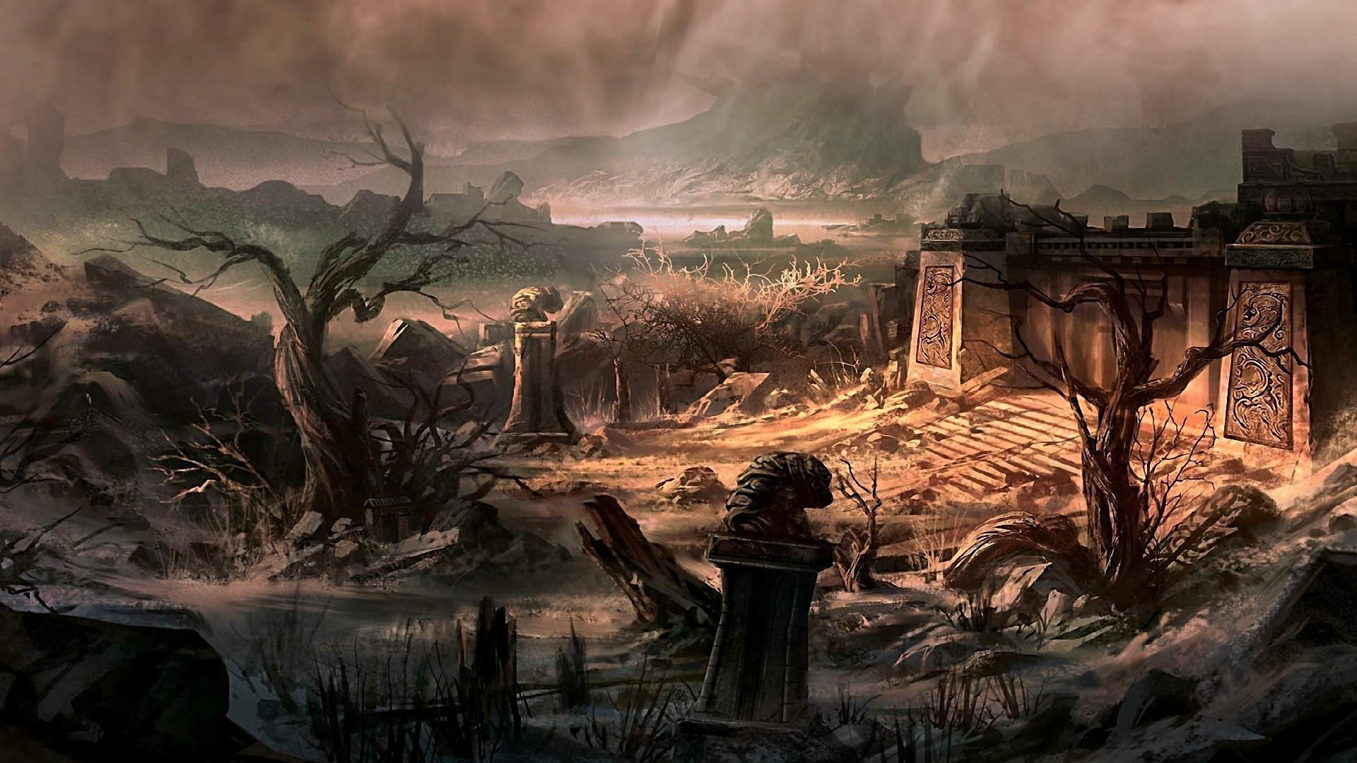 древние руины. камлание шамана и перемещение в мир духов